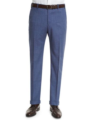 Parker End-On-End Flat Trousers, Navy