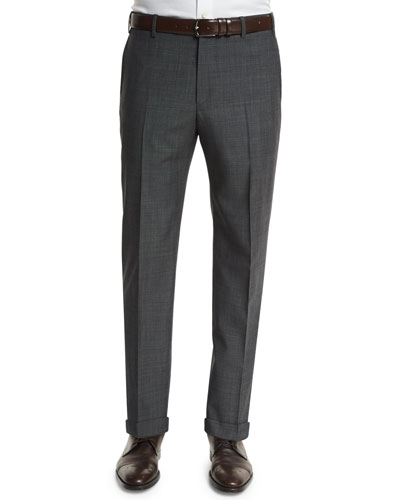 Parker Micro Box-Check Trousers, Gray