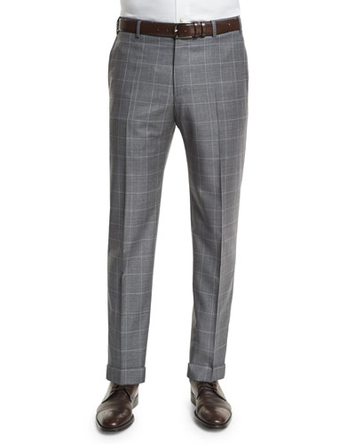Parker Flat-Front Sharkskin Windowpane Trousers, Charcoal