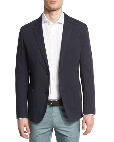 Stretch-Cotton Two-Button Blazer, Navy