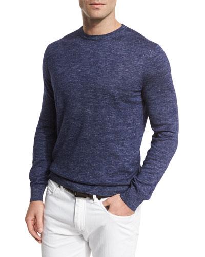 Cashmere-Blend Crewneck Sweater, Blue