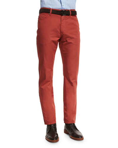 Five-Pocket Cotton-Linen Pants, Vermillion