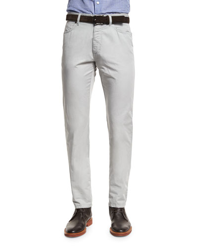 Five-Pocket Cotton-Linen Pants, Stone