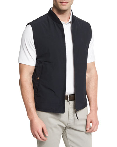 Knit-Trim Vest w/ Leather Details, Navy