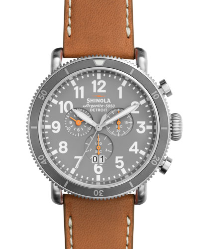48mm Runwell Sport Chronograph Watch, Tan/Slate/Blue