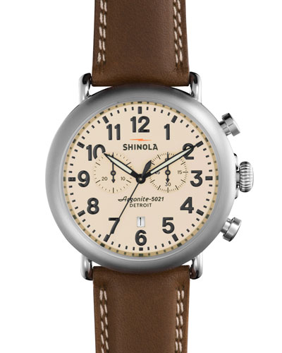 47mm Runwell Chronograph Leather Watch, Dark Nut
