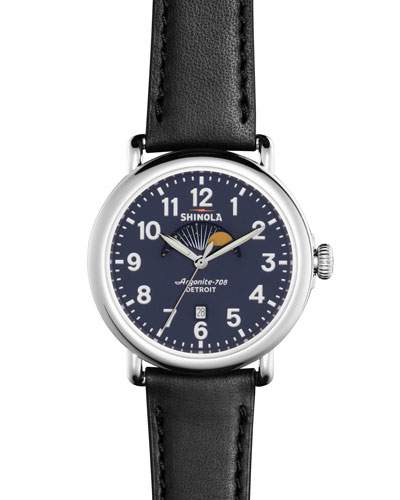 Men's 41mm Runwell Moon Phase Watch, Black