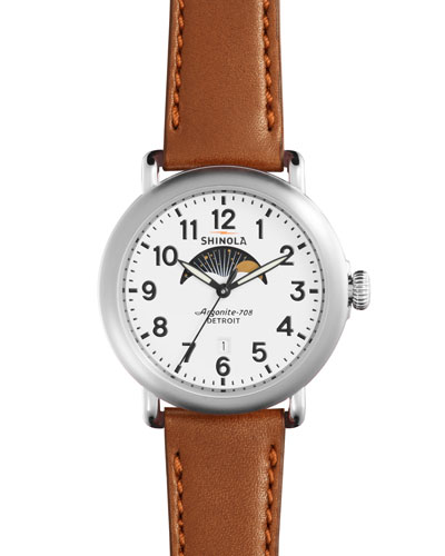 41mm Runwell Moon Phase Watch, Dark Cognac