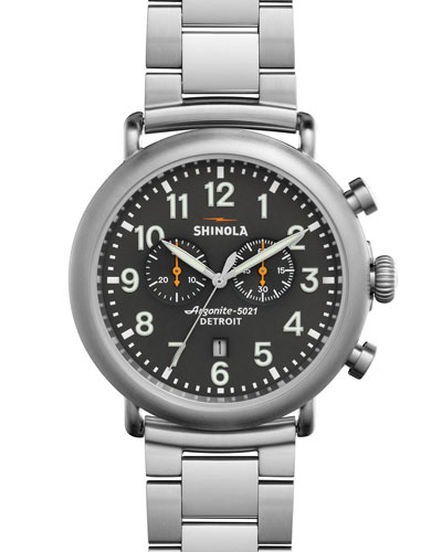 Men's 47mm Runwell Chronograph Watch, Steel/Gray