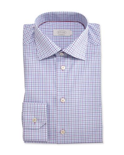 Contemporary-Fit Check Dress Shirt, Purple/Blue