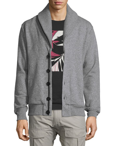 Gasper Shawl-Collar Knit Cardigan, Gray