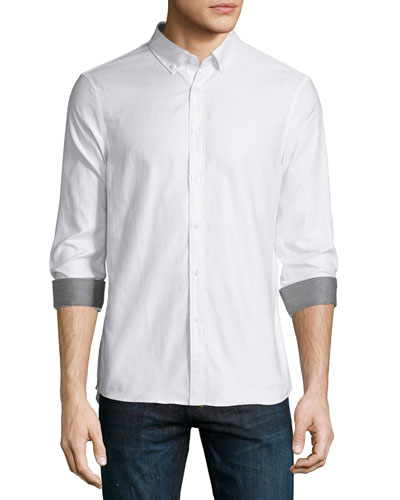 Dobby Slim-Fit Sport Shirt, White