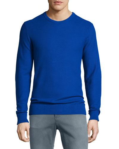 Pique Stitched Cotton Crewneck Sweater, Blue
