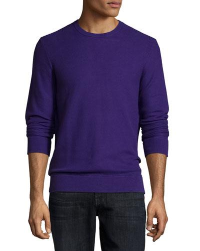 Pique Stitched Crewneck Sweater, Purple