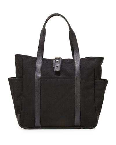 Leather-Trim Canvas Utility Tote Bag, Black