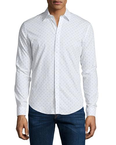 Southbrook Mini Dot-Print Sport Shirt, White/Black