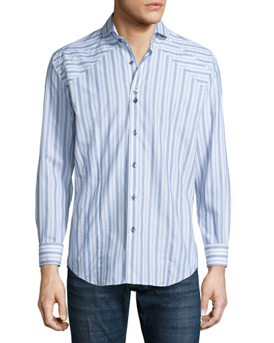 Striped Long-Sleeve Sport Shirt, White