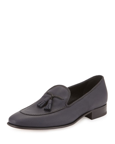 Grained Leather Tassel Loafer, Navy