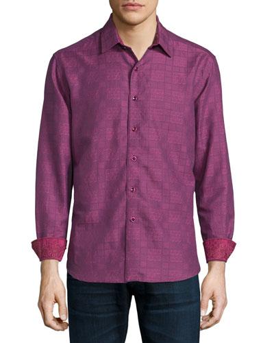Captain Merrill Printed Sport Shirt, Berry