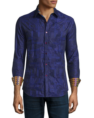 Limited Edition Eminence Printed Sport Shirt, Purple