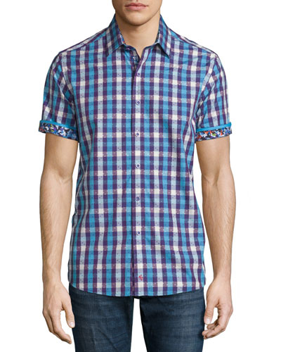 Griswold Check Short-Sleeve Shirt, Purple Pattern