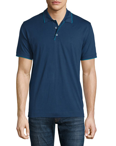 Marlow Short-Sleeve Polo Shirt with Contrast Trim, Navy