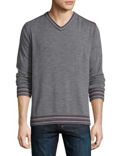 Shayne Tipped V-Neck Sweater, Charcoal