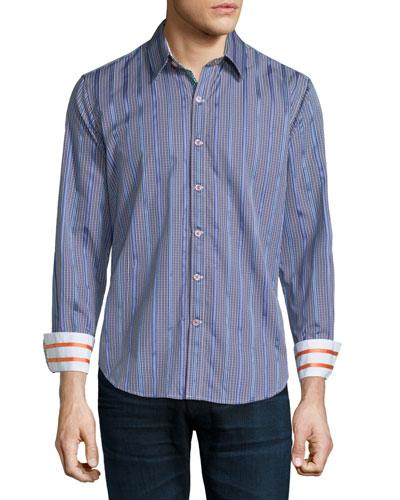 Clyde Striped & Check Sport Shirt, Purple Pattern