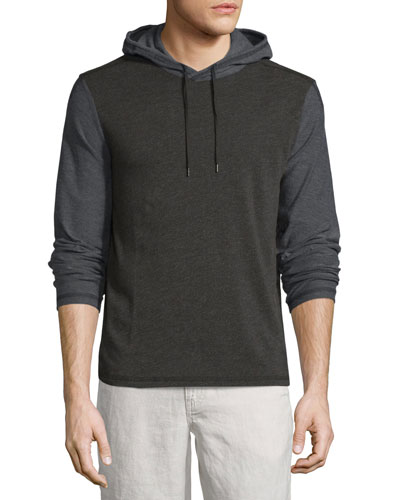 Two-Tone Pullover Hoodie, Black