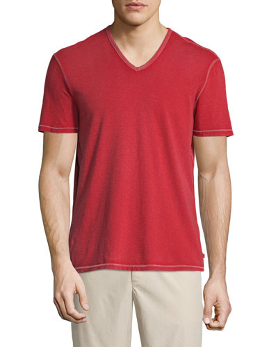 Contrast-Stitch V-Neck T-Shirt, Red