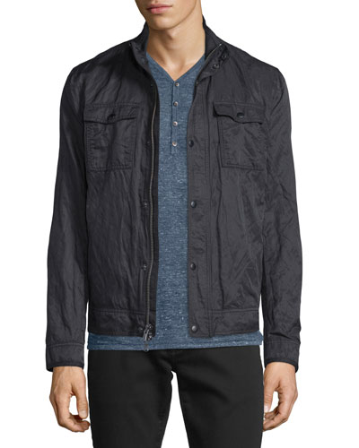 Mixed Media Zip Jacket, Black