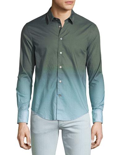 Ombre Sepia Long-Sleeve Sport Shirt, Green