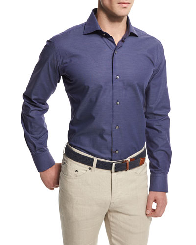 Maritime Jacquard Long-Sleeve Sport Shirt, Navy