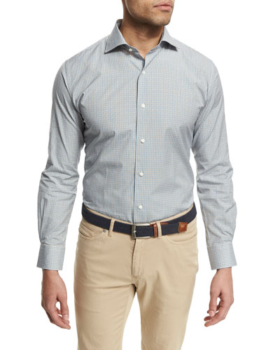 Multi-Check Long-Sleeve Sport Shirt, Sand