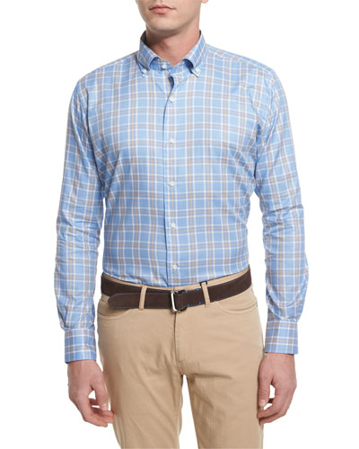 Nantucket Plaid Long-Sleeve Sport Shirt, Blue