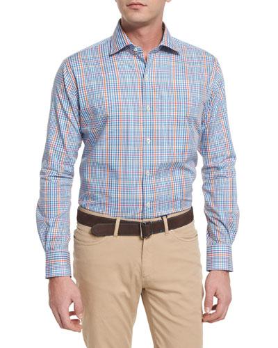 Windowpane-Plaid Long-Sleeve Sport Shirt, Blue