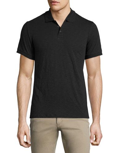 Slub-Knit Short-Sleeve Polo Shirt, Black