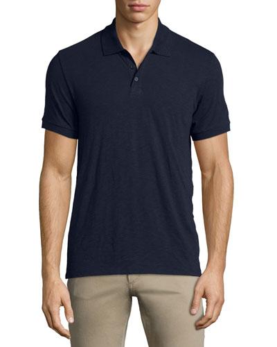 Slub Short-Sleeve Polo Shirt, Navy