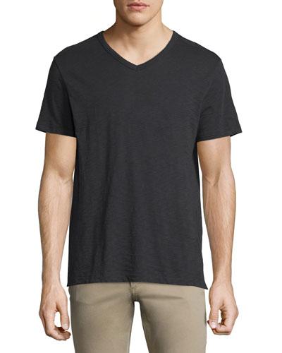 Slub Short-Sleeve V-Neck T-Shirt, Black