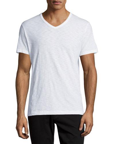 Slub Jersey V-Neck T-Shirt, White