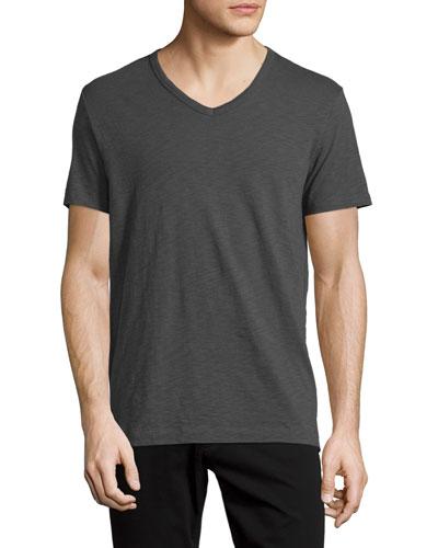 Slub Jersey V-Neck T-Shirt, Gray