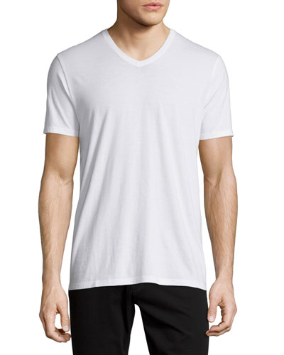 Short-Sleeve V-Neck Jersey T-Shirt, White