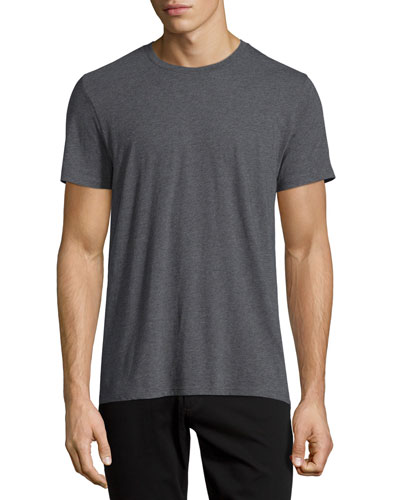 Crewneck Short-Sleeve Cotton T-Shirt, Gray