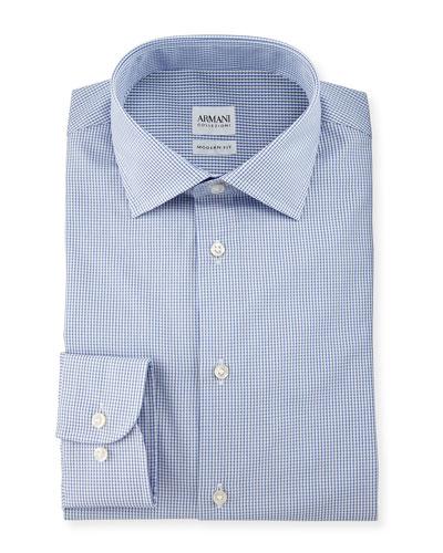 Modern-Fit Textured Check Dress Shirt, Navy