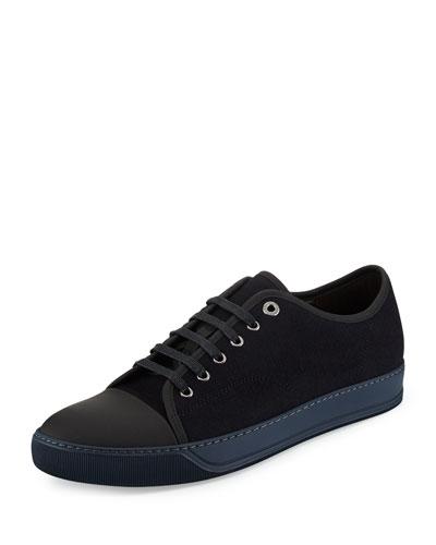 Matte Cap-Toe Suede Low-Top Sneaker, Burgundy