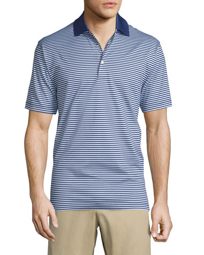Striped Lisle-Knit Polo Shirt, Navy