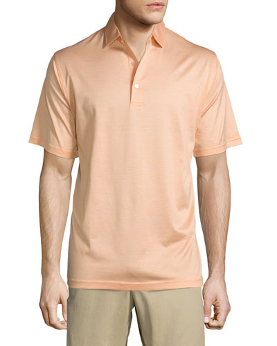 Lisle-Knit Thin-Stripe Polo Shirt, Orange