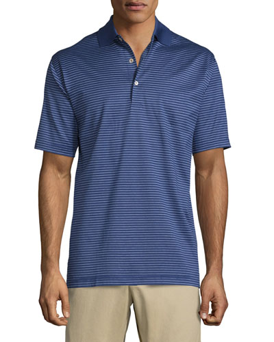 Subconscious Striped Short-Sleeve Jersey Polo Shirt, Navy