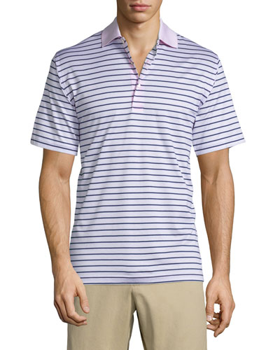 Charlie Striped Short-Sleeve Polo Shirt, Pink