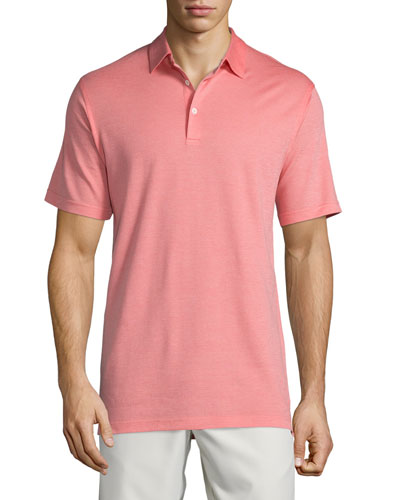 Short-Sleeve Pique Polo Shirt, Coral